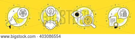 Eco Organic, Water Drop And Refill Water Line Icons Set. Megaphone, Licence And Deal Vector Icons. B