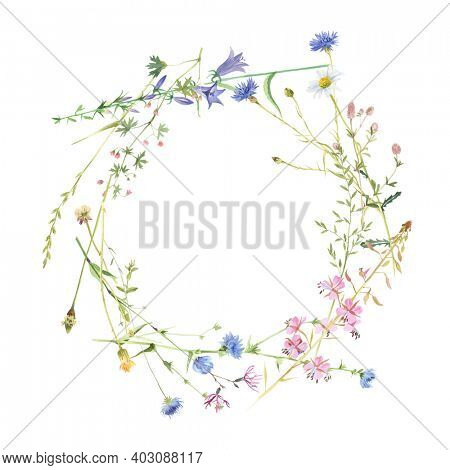 Round frame with watercolor meadow flowers. Wildflowers wreath, rustic hand painted background