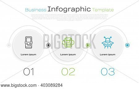 Set Line Tetris, School Backpack And Ufo Flying Spaceship. Business Infographic Template. Vector