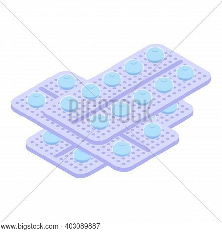 Pill Packs Icon. Isometric Of Pill Packs Vector Icon For Web Design Isolated On White Background
