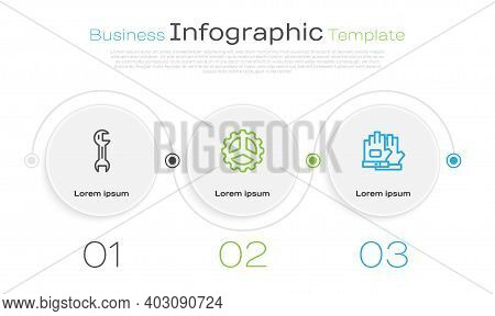 Set Line Wrench Spanner, Bicycle Sprocket Crank And Gloves. Business Infographic Template. Vector