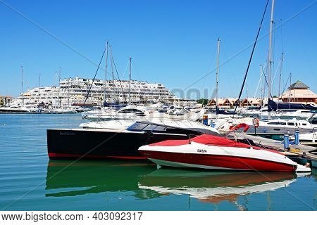 Vilamoura, Portugal - June 6, 2017 - View Of Yachts In The Marina With Buildings To The Rear, Vilamo