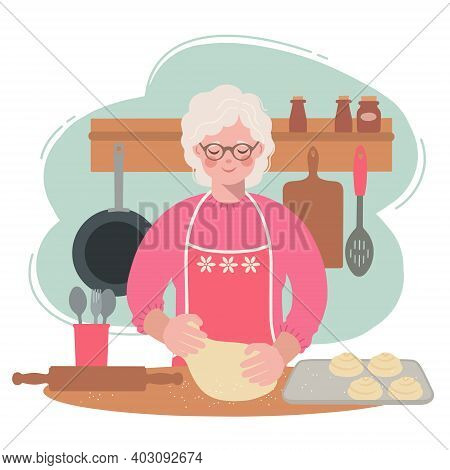 Grandma Is In The Kitchen Rolling Out The Dough For Buns. Illustration Of An Elderly Woman Preparing