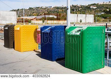Albufeira, Portugal - June 8, 2017 - Recycling Bins In The Marina, Albufeira, Algarve, Portugal, Eur