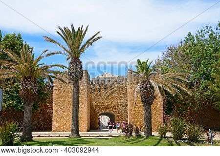 Lagos, Portugal - June 9, 2017 - View Of The Entrance Arch Of The Governors Castle (castelo Dos Gove
