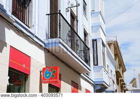Ayamonte, Spain - June 11, 2017 - Businesses In Buildings Along The Calle Angustias, Ayamonte, Huelv