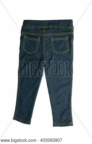 Jeans Isolated. Trendy Stylish Blue Denim Pants Or Trousers For Child Boy Isolated On A White Backgr