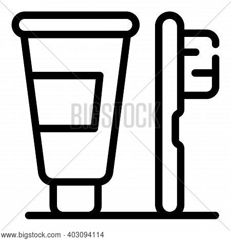 Personal Toothpaste And Toothbrush Icon. Outline Personal Toothpaste And Toothbrush Vector Icon For