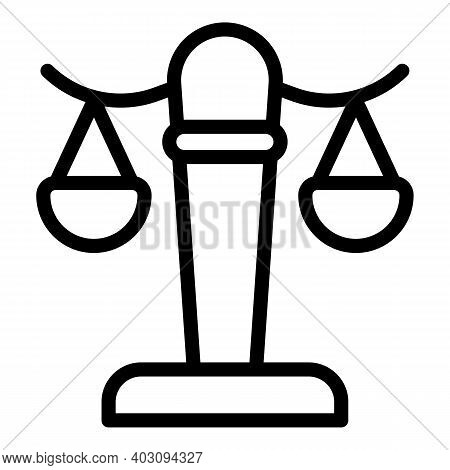 Judge Balance Icon. Outline Judge Balance Vector Icon For Web Design Isolated On White Background