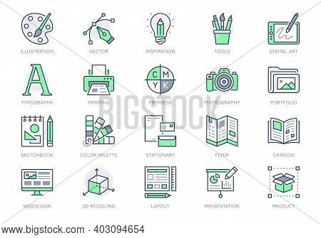 Graphic Design Line Icons. Vector Illustration Included Icon - Digital Creative Tool, Paintbrush, Pa