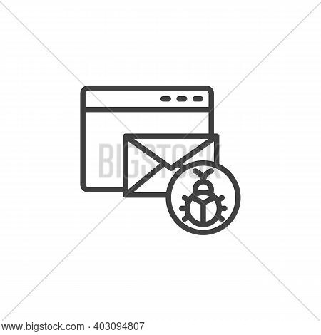 Website Email Spam Line Icon. Linear Style Sign For Mobile Concept And Web Design. Email Bug Outline