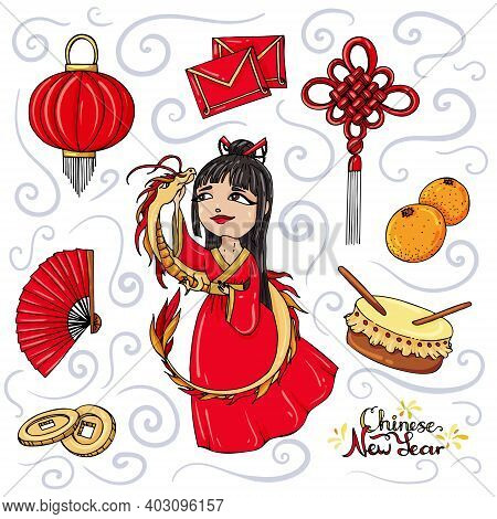 Vector Set Of Objects For Chinese New Year Isolated On White Background.