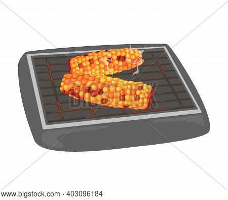 Fried Sweet Maize On Barbeque, Tasty Lunch, Nutritious Meal, Farm Vegetable. Vector Noggin Of Eco Ve