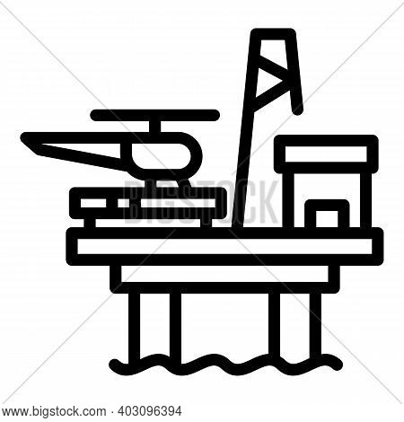 Helicopter Sea Drilling Rig Icon. Outline Helicopter Sea Drilling Rig Vector Icon For Web Design Iso