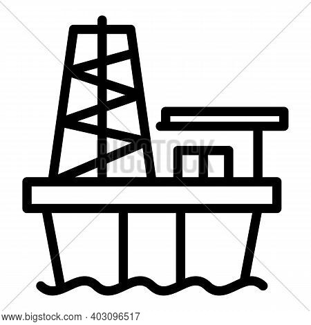 Oil Sea Drilling Rig Icon. Outline Oil Sea Drilling Rig Vector Icon For Web Design Isolated On White