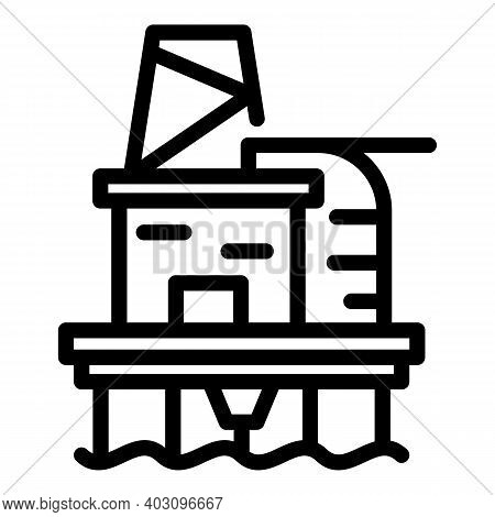 Factory Sea Drilling Rig Icon. Outline Factory Sea Drilling Rig Vector Icon For Web Design Isolated
