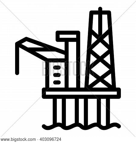 Electric Sea Drilling Rig Icon. Outline Electric Sea Drilling Rig Vector Icon For Web Design Isolate