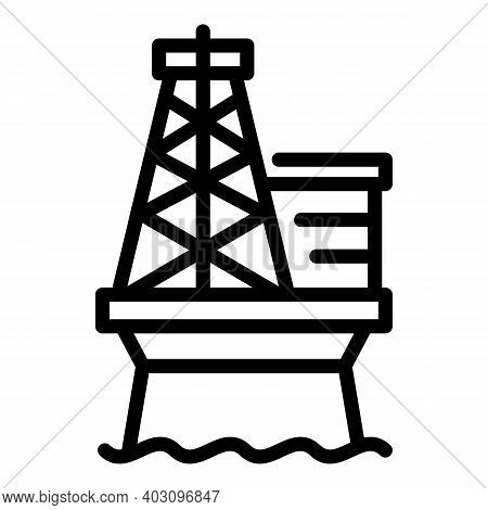 Engineer Sea Drilling Rig Icon. Outline Engineer Sea Drilling Rig Vector Icon For Web Design Isolate