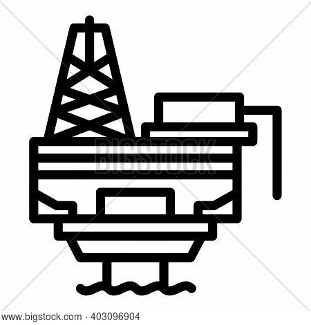Plant Sea Drilling Rig Icon. Outline Plant Sea Drilling Rig Vector Icon For Web Design Isolated On W