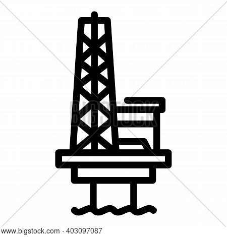 Production Sea Drilling Rig Icon. Outline Production Sea Drilling Rig Vector Icon For Web Design Iso