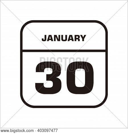 Calendar Icon 30 Isolated On White Background, Calendar Icon Vector Flat Modern, Calendar Icon, Cale