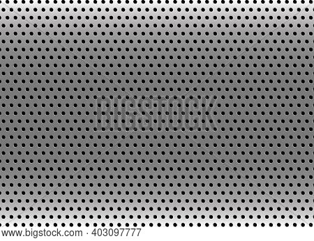 Silver Metal Background With Dots Pattern. Grey Industrial Texture Backdrop. Light Silver Metal Back