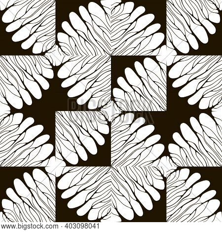 Geometric Texture With Curved Lines Like Silhouettes Of Trees. Wavy Lines Inside Squares. Ornament W
