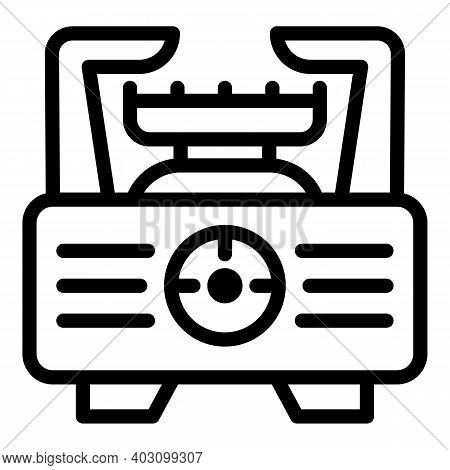 Manual Gas Stove Icon. Outline Manual Gas Stove Vector Icon For Web Design Isolated On White Backgro