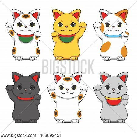 Cute Cartoon Style Vector Illustrations Of Different Colored Traditional Japanese So Called Maneki N