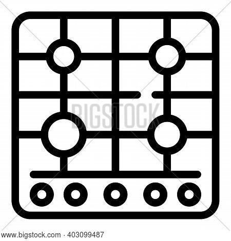 Machine Gas Stove Icon. Outline Machine Gas Stove Vector Icon For Web Design Isolated On White Backg