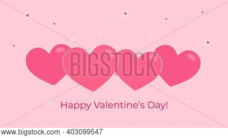 Four Heart Symbols As Valentines Greeting Card. Flat Vector Illustration Of Rose Colored Heart Shape