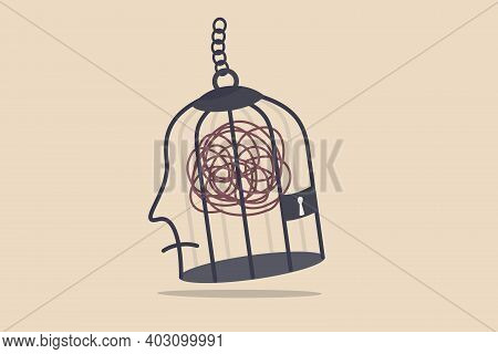 Mental Health, Stressed And Anxiety From Work, Depression Or Obsession In Human Brain Concept, Mess