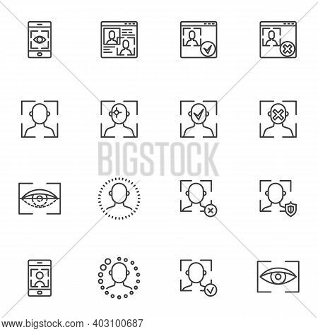 Biometrics Identification Line Icons Set, Outline Vector Symbol Collection, Linear Style Pictogram P