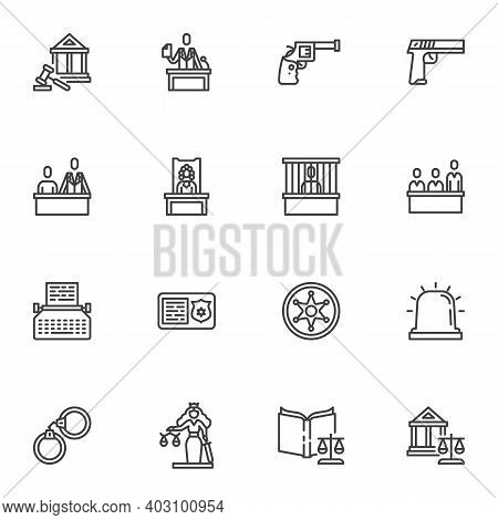 Law And Judgement Line Icons Set, Outline Vector Symbol Collection, Linear Style Pictogram Pack. Sig