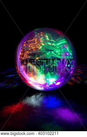 Oracle  Prophecy Glass Ball In Rainbow Light With Inscription Destiny.prophetic Glowing Sphere In Co