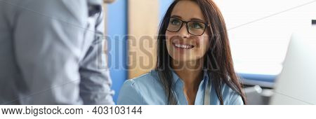 Portrait Of Smiling Businesswoman Looking At Man With Happiness And Calmness. Happy Businesslady Spe
