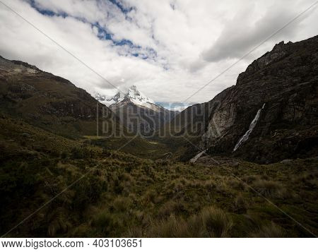 Panorama View Of Andean Mountain Landscape Valley Near Laguna 69 Cordillera Blanca Cebollapampa Huar