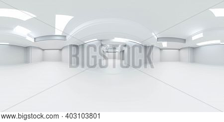 360 Degree Panorama Of White Abstract Futuristic Building Interior 3d Render Illustration