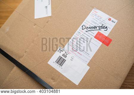 Paris, France - Dec 13, 2020: Review Of Dpd Parcel Delivery Special Instruction Sticker In German La
