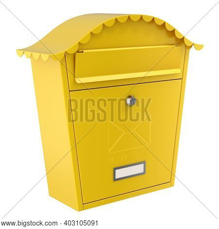 Yellow Mailbox (post Box) Isolated On White Background - 3d Illustration