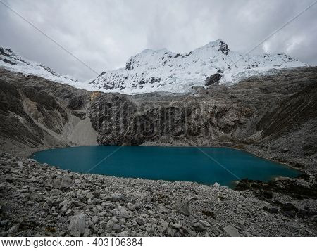 Panorama Landscape View Of Andean Alpine Mountain Lake Laguna 69 Cordillera Blanca Cebollapampa Huar