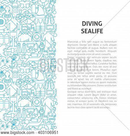 Diving Sealife Line Pattern Concept. Vector Illustration Of Outline Design.