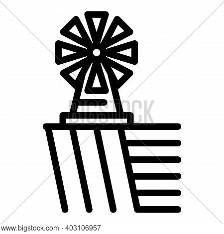 Village Mill Icon. Outline Village Mill Vector Icon For Web Design Isolated On White Background