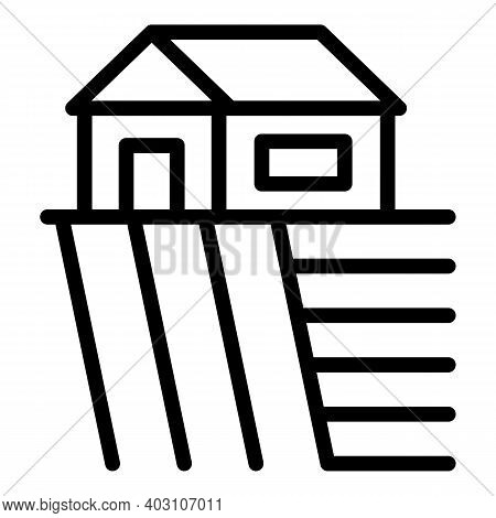 Village House Icon. Outline Village House Vector Icon For Web Design Isolated On White Background