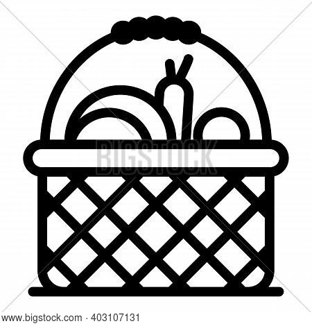 Village Vegetables Icon. Outline Village Vegetables Vector Icon For Web Design Isolated On White Bac