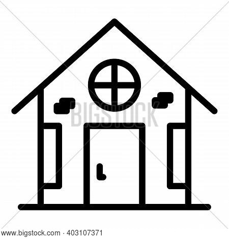 Village Home Icon. Outline Village Home Vector Icon For Web Design Isolated On White Background