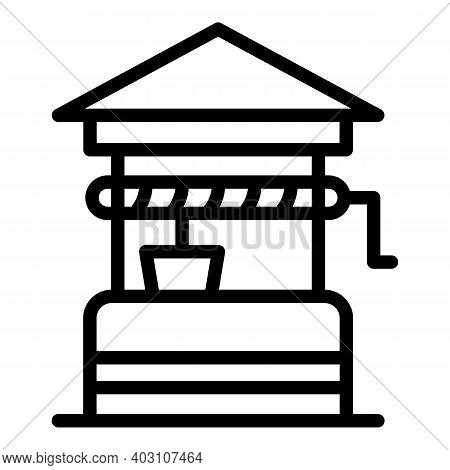 Farm Well Icon. Outline Farm Well Vector Icon For Web Design Isolated On White Background