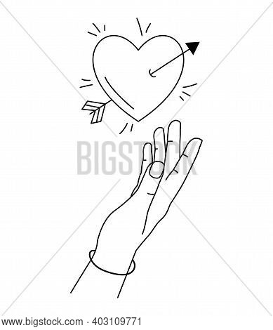 Vector Illustration Of Hand Reaches For Heart In Love. Hand Drawn Line Art Style. Heart Pierced By A