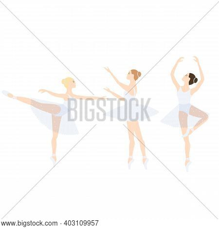 Ballerina In Tutu And Pointe Shoes, Ballet Pose, Dancing And Posing, Vector Ballet