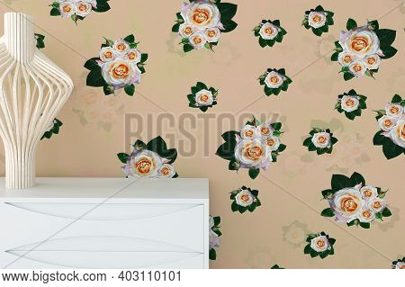 Flower Roses Wall With White Commode Dresser And Sculpture Vase, In Retro Modern Interior Background